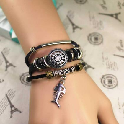 Fishbone Leather Bracelet, Bead Bra..