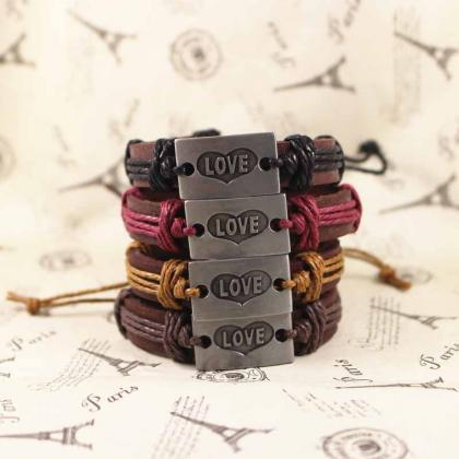 Love Leather Bracelet, Vintage Brac..