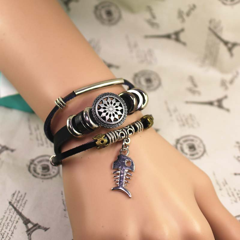 Fishbone Leather Bracelet, Bead Bracelet, Multilayer Bracelet, Best Gift For Her, Gifts For Men,Free Shipping