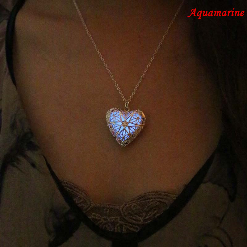 Free Shipping Heart Glowing NecklaceLocket NecklaceGift For HimGifts Her